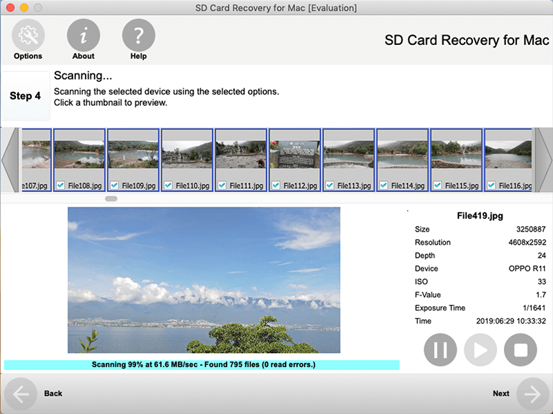 Click to view SD Card Recovery for Mac screenshots